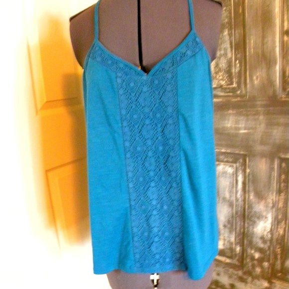 Sleeveless Racerback Tank Top W/ Lace Accents